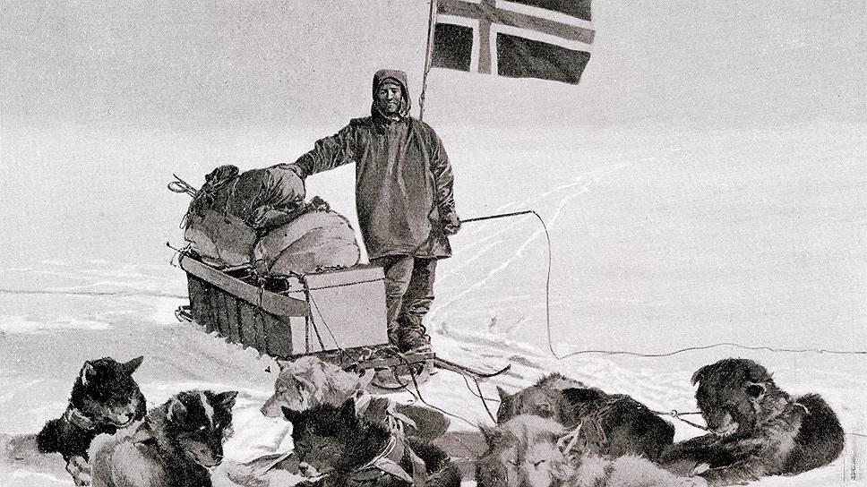 Оскар Вистинг, участник полярной экспедиции Руаля Амундсена, на Южном полюсе. Антарктида, 1 января 1911 года