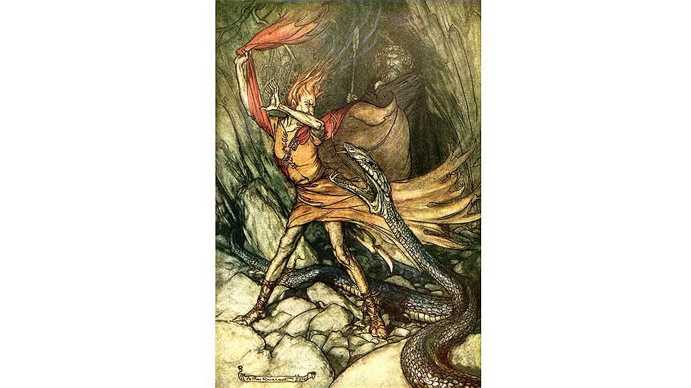 """Артур Рэкхем. Иллюстрация к оперному циклу """"Кольцо нибелунга"""", 1910 год"""