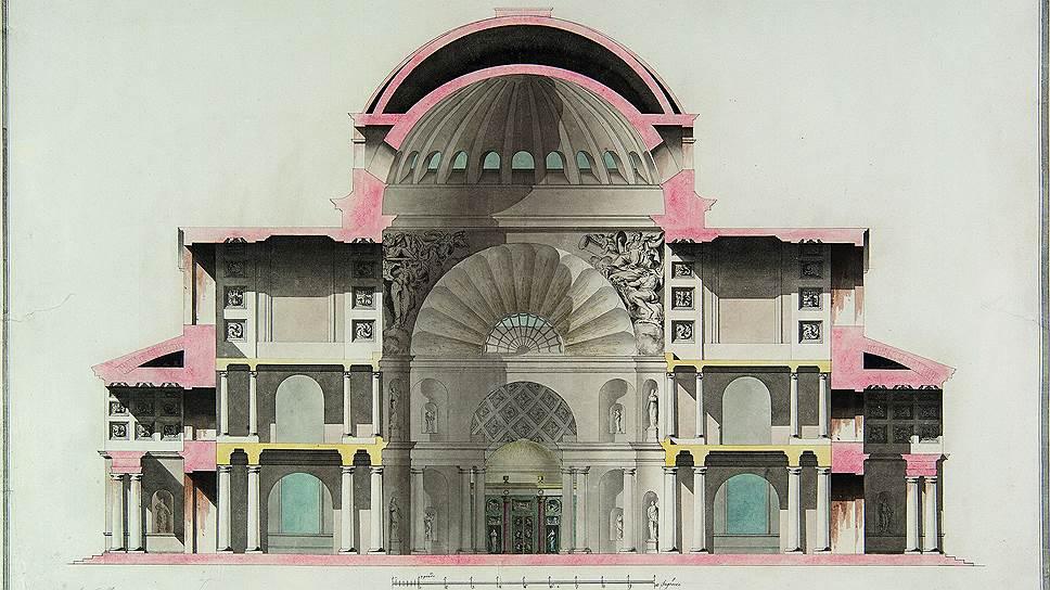 Чарльз Камерон. Разрез Софийского собора в Царском Селе, около 1782 года