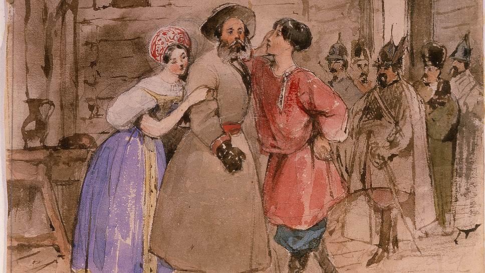 """Неизвестный автор. Сцена из оперы """"Жизнь за царя"""", конец 1830-хгодов"""