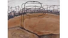 Евгений Кропивницкий. «Пейзаж с колючей проволокой», 1959год