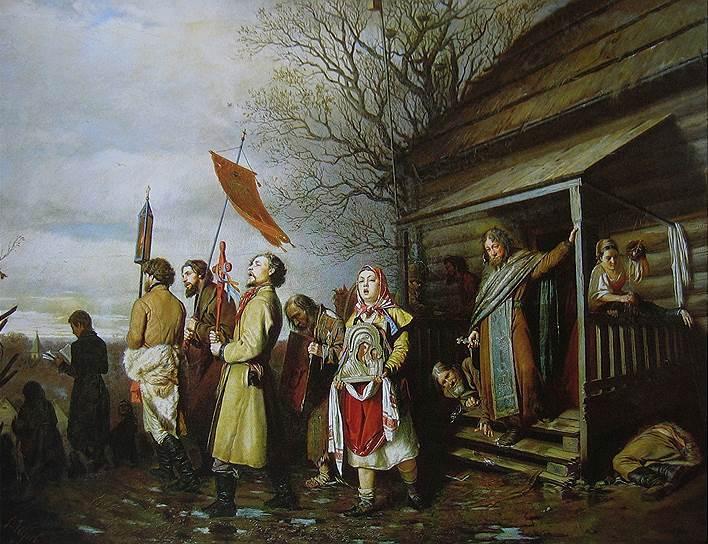 Василий Перов. «Сельский крестный ход на Пасху», 1861год