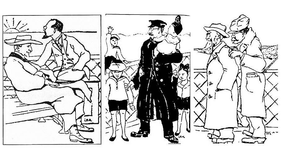 Слева направо: Иван Ильин, Николай Бердяев, Семен Франк с детьми, Александр Кизеветтер и Юлий Айхенвальд на борту парохода «Обербургомистр Хакен». Рисунок Иосифа Матусевича, 1922 год