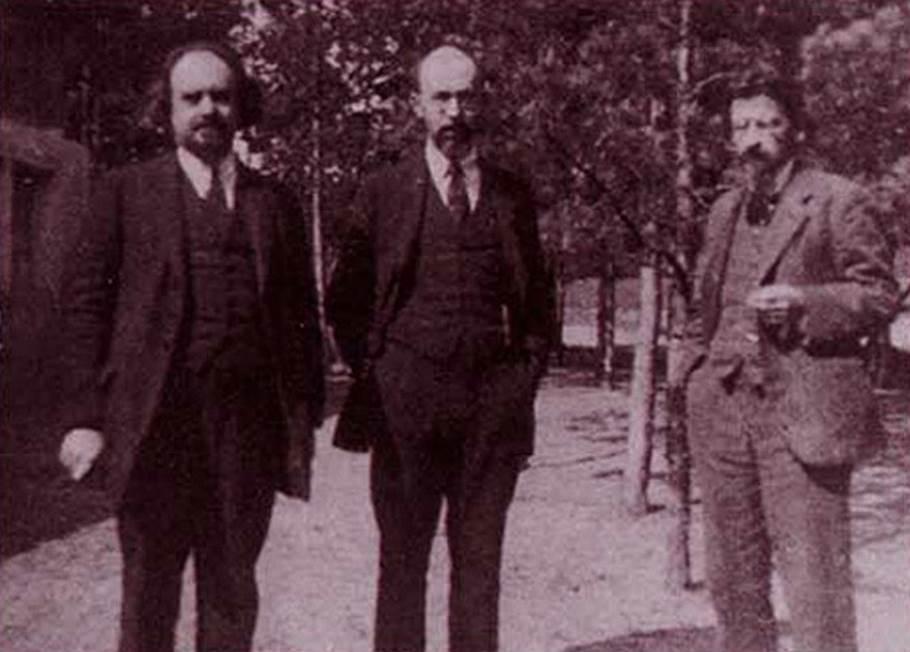 Слева направо: Николай Бердяев, Семен Франк и Лев Карсавин на съезде Русского студенческого христианского движения, 1923 год