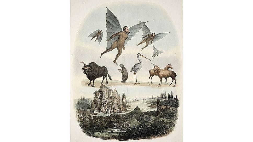 «Лунные открытия от г-на Гершеля». Италия, 1836