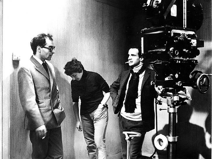 Жан-Люк Годар (слева) навещает Франсуа Трюффо на съемочной площадке «451° по Фаренгейту», 1966