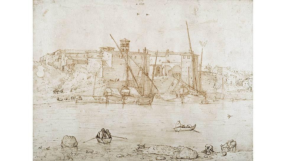 «Вид порта Рипа-Гранде, Рим», около 1552