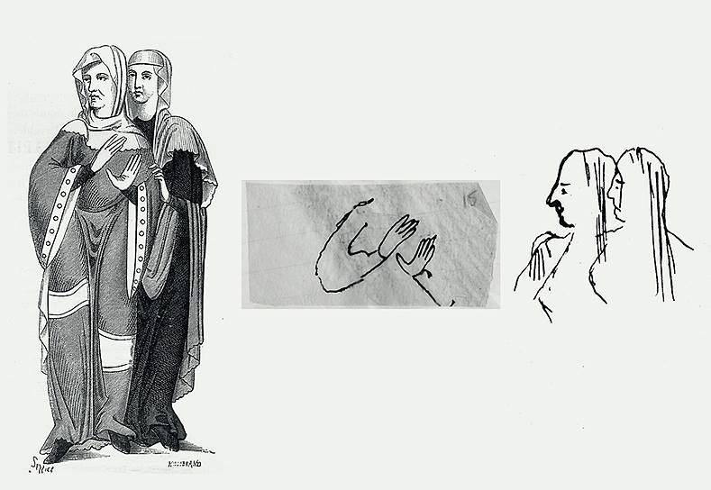 Рисунки Всеволода Мейерхольда (справа) по мотивам репродукции гравюры «Дамы XI века» для «Смерти Тентажиля»