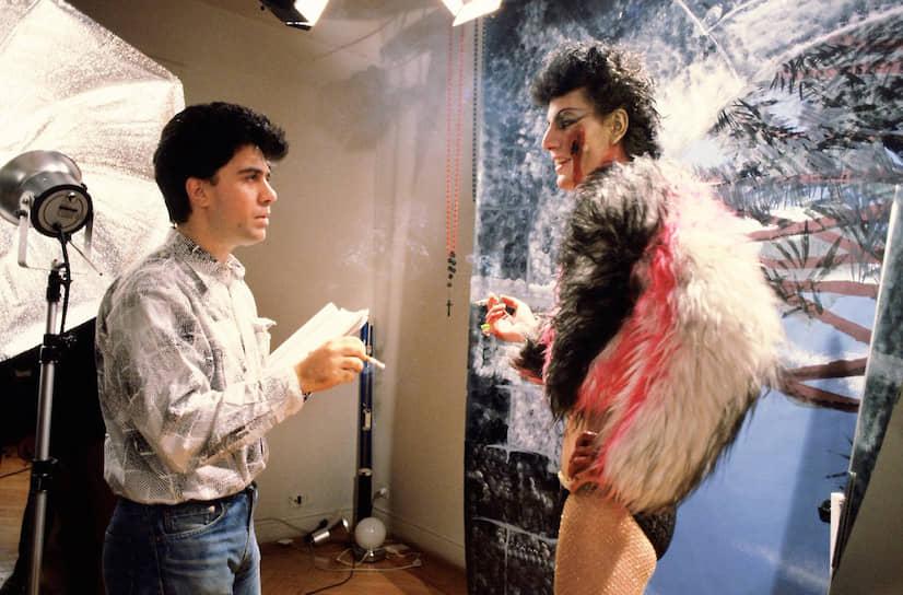 Педро Альмодовар и Иманоль Ариас на съемках «Лабиринта страстей», 1982