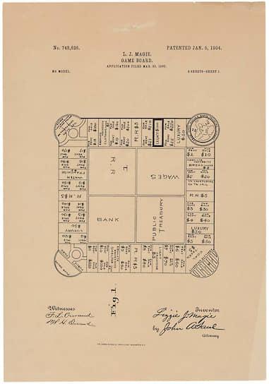 Патент Элизабет Мэгги на игру «Землевладелец», 1904