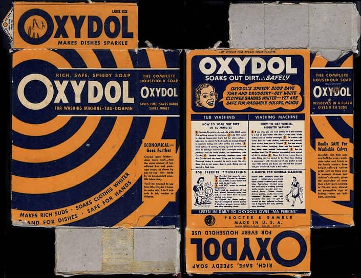 Упаковка стирального порошка Oxydol с рекламой сериала «Мамаша Перкинс», 1930-е
