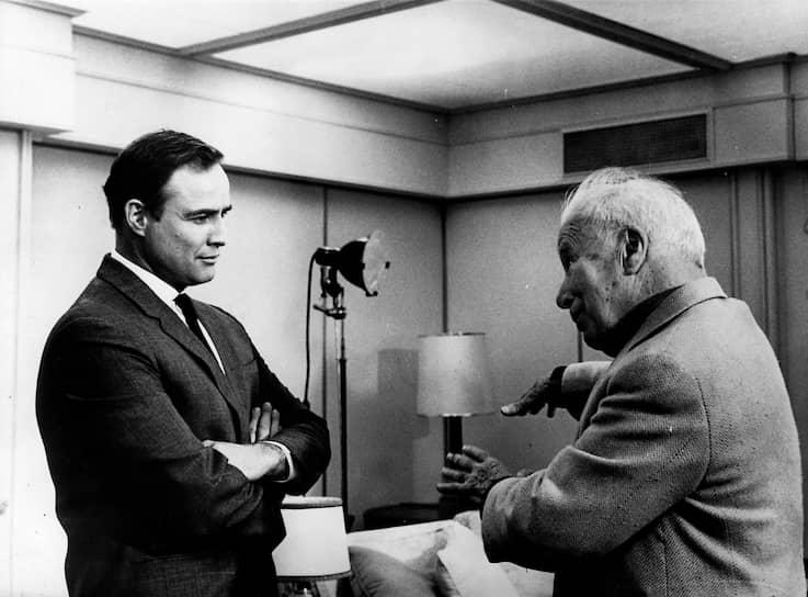 Чарли Чаплин и Марлон Брандо, 1966