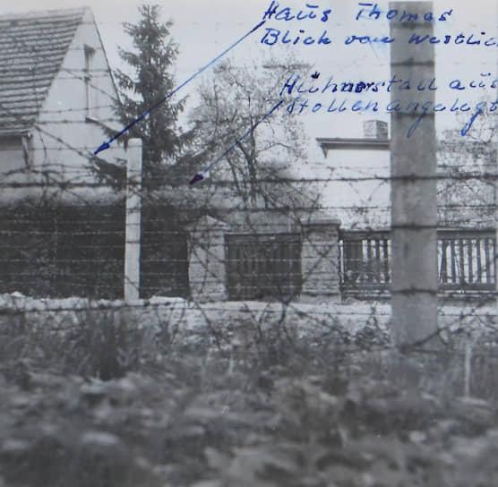 Вид на дом супругов Томас со стороны границы, оперативная съемка МГБ ГДР, май 1961