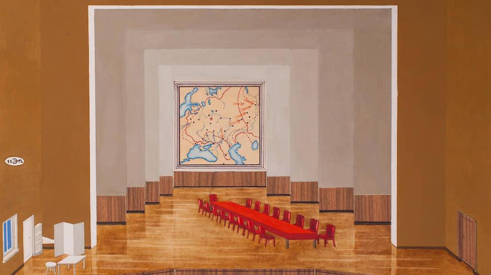 В.А.Стенберг. Эскиз к спектаклю, эпизод «Совещание в губкоме». Авторское повторение эскизов 1930-хгодов, 1977