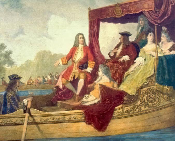Эдуард Хамман. «Георг Фридрих Гендель и король ГеоргI во время прогулки по Темзе 17июля 1717года», XIXвек