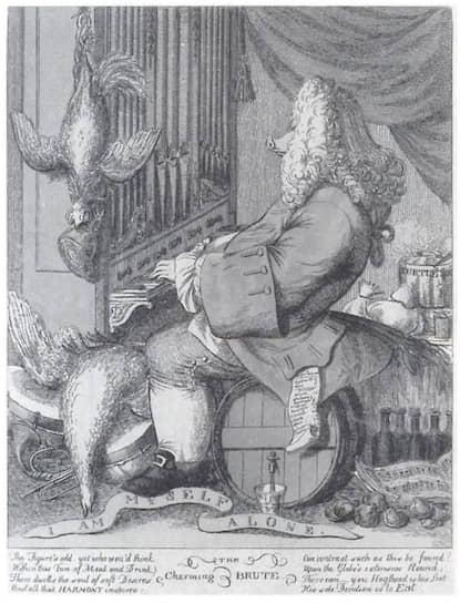 Джозеф Гоупи. Карикатура на Георга Фридриха Генделя, 1754