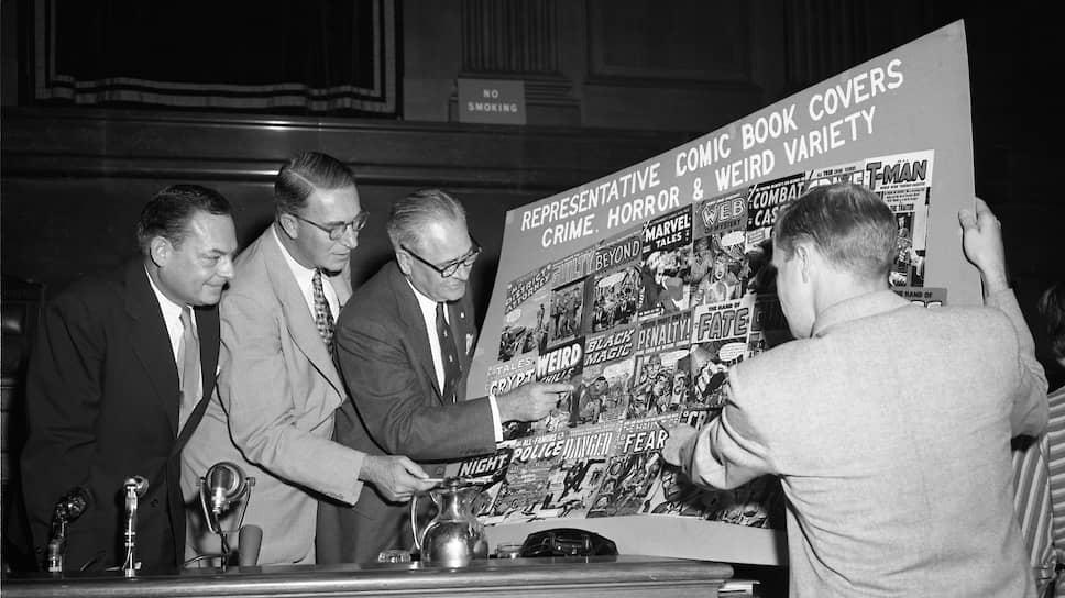 Сенаторы Томас Д. Хеннингс, Эстес Кефовер, Роберт С.Хендриксон и профессор юриспруденции Ричард Кленденен (слева направо) на слушаниях Комиссии по проблеме молодежной преступности, 1953