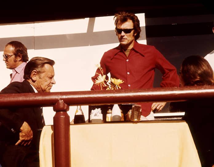 Уильям Холден и Клинт Иствуд на съемках «Бризи», 1973