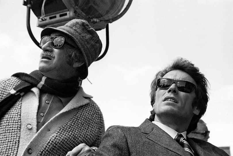 Дон Сигел и Клинт Иствуд на съемках «Грязного Гарри», 1971