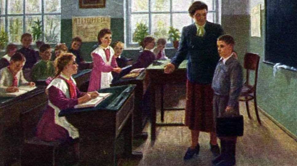 """Открытка """"В сельской школе. Новичок"""". Художник  Г. Малянтович, 1951"""