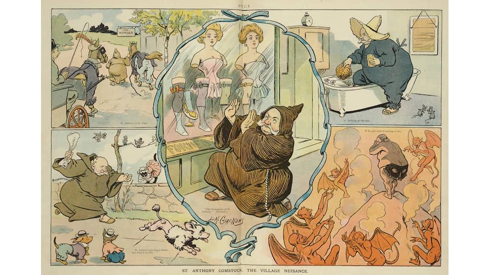Карикатура «Святой Антоний Комсток и городские опасности», 1906