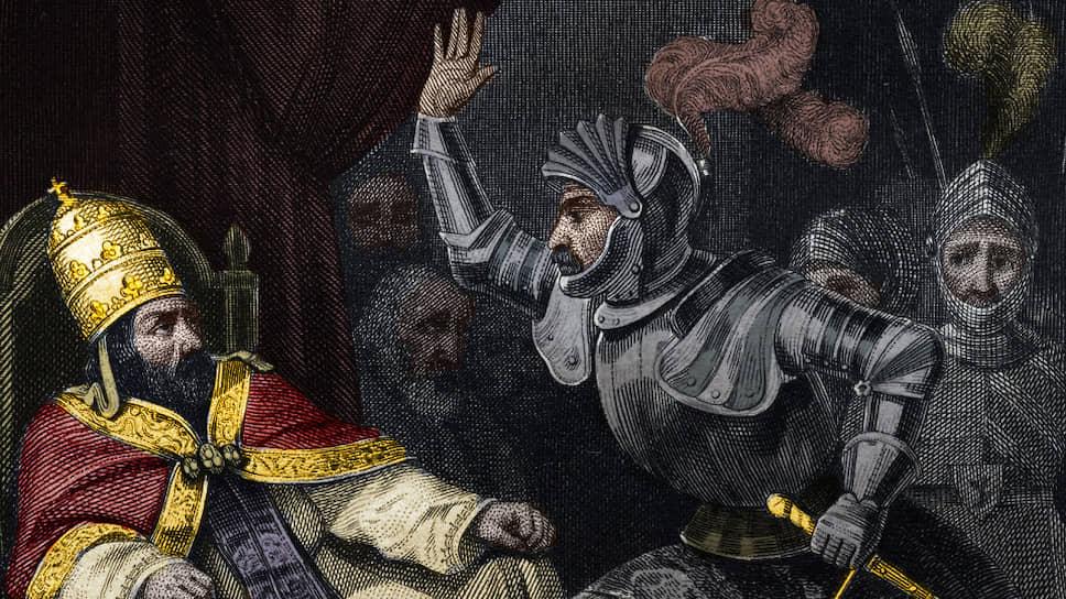 «Скьярра Колонна дает пощечину папе БонифациюVIII, 1303». Гравюра из «Истории пап» Мориса Лашатра, 1842–1843