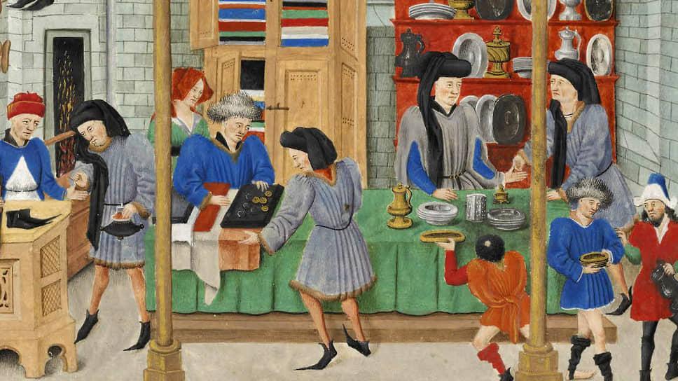 «Средневековый рынок». Миниатюра к «Этике, политике и экономике» Аристотеля, XV век