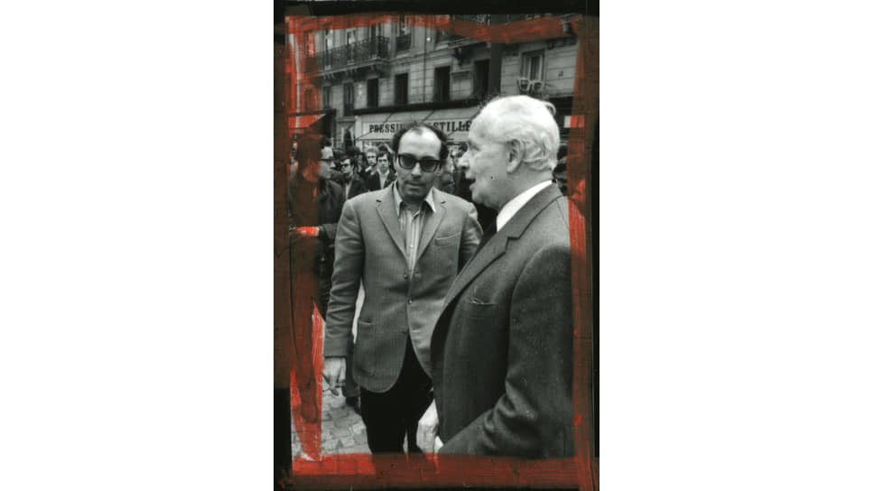 Жан-Люк Годар и Луи Арагон на студенческой демонстрации в Париже, 29мая 1968