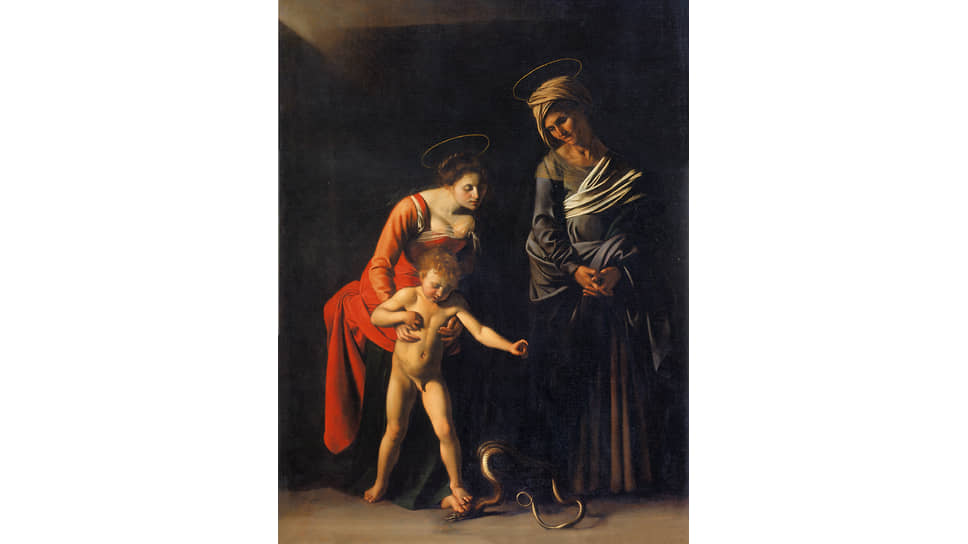 """Caravaggio. """"Madonna and Child and St. Anne"""", 1606. Painting commissioned by Pope Paul V for St. Peter's Cathedral in Rome"""