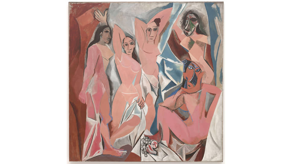 """Pablo Picasso. """"Maidens of Avignon"""", 1907. Picasso's biographers claim that this picture was painted from the very Iberian figurines stolen from the Louvre"""