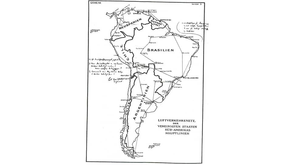 Поддельная карта плана Гитлера по разделу Южной Америки. 1941год