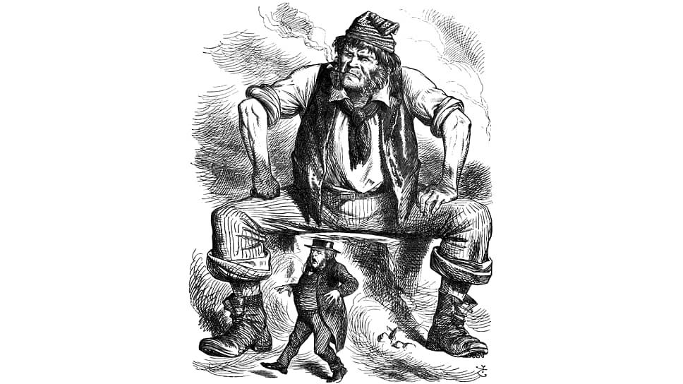 Карикатура «Бирмингемский Франкенштейн» в журнале Punch, 1866