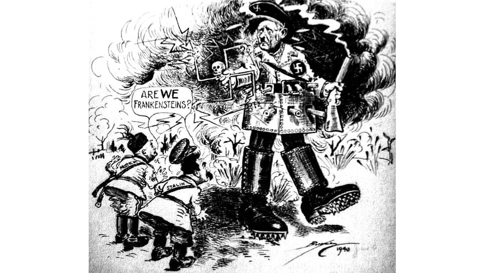 Карикатура «Мы что, Франкенштейны?» в газете The Evening Star, 1940