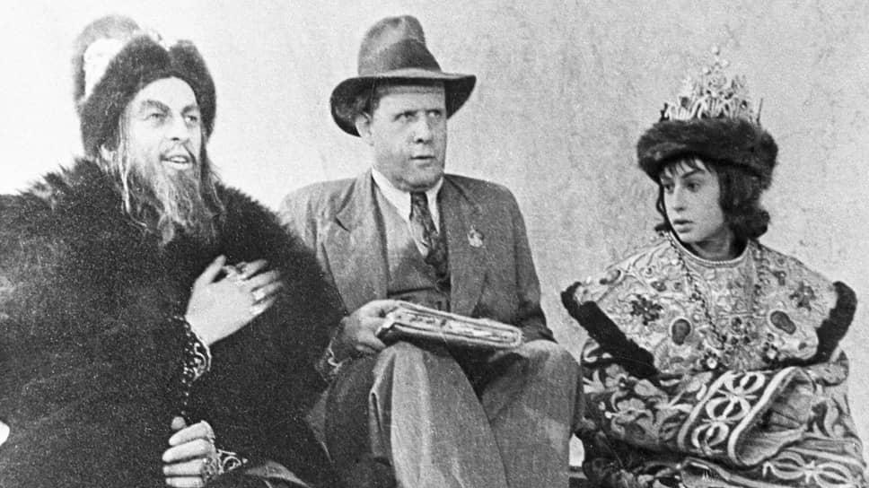 Николай Черкасов, Сергей Эйзенштейн и Эрик Пырьев на съемках «Ивана Грозного», 1944