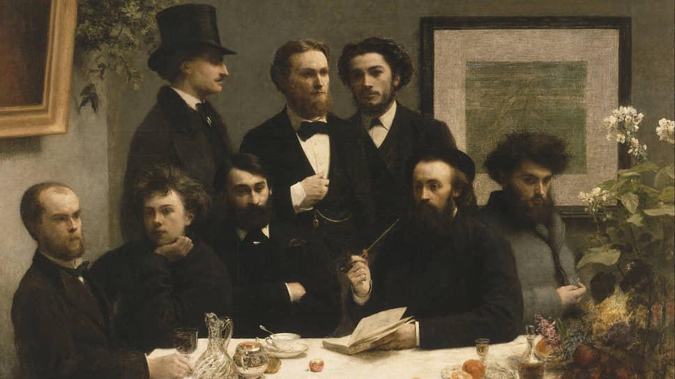 Анри Фантен-Латур. «За столом», 1872. Снизу слева — Поль Верлен и Артюр Рембо