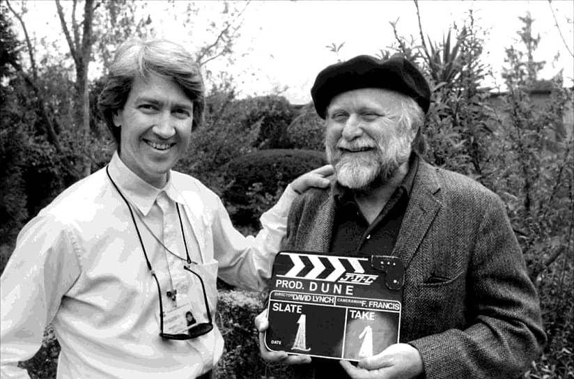 Дэвид Линч и Фрэнк Герберт на съемках «Дюны», 1983
