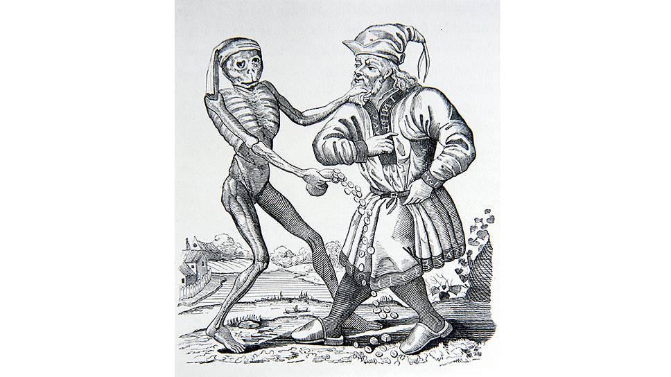 Маттеус Мериан. «Еврей с деньгами, или Ростовщик и смерть», 1641год