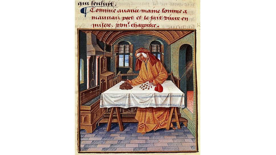 «Ростовщик», иллюстрация к «Книге добрых нравов» Жака Леграна, XVвек