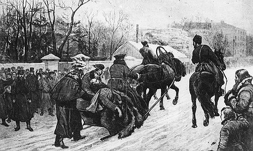Когда террористы поняли, что бомбы надо не подкладывать, а бросать, у их жертвы не осталось шансов (на фото — смертельно раненного Александра II везут во дворец)
