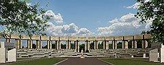 Завершающий комплекс амфитеатр, ухудшенная копия идеи «Моспроекта-4» (на фото), в реализуемом проекте сохранен. Через год в Мытищах появится российское ноу-хау — колумбарий в театре