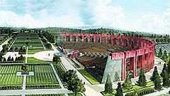 Завершающий комплекс амфитеатр, ухудшенная копия идеи «Моспроекта-4», в реализуемом проекте (на фото) сохранен. Через год в Мытищах появится российское ноу-хау — колумбарий в театре