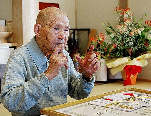 Томодзи Танабэ. Умер в 2009 году в возрасте 113 лет. Фото 2008 года