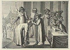 При наделении полномочиями главы субъекта монархии наделяемые получали письменный наказ главы государства (на гравюре) и множество неписаных возможностей