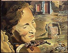 """""""Портрет Гала с двумя бараньими ребрышками, удерживающими равновесие на ее плече"""", около 1934"""