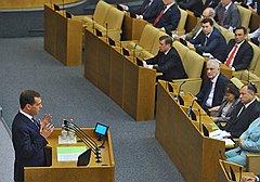 Премьер Дмитрий Медведев без труда находит общий язык с Думой, отменяющей либеральные начинания президента Дмитрия Медведева