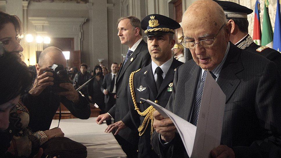 Джорджо Наполитано отказался продлить свои полномочия главы разрозненной Италии