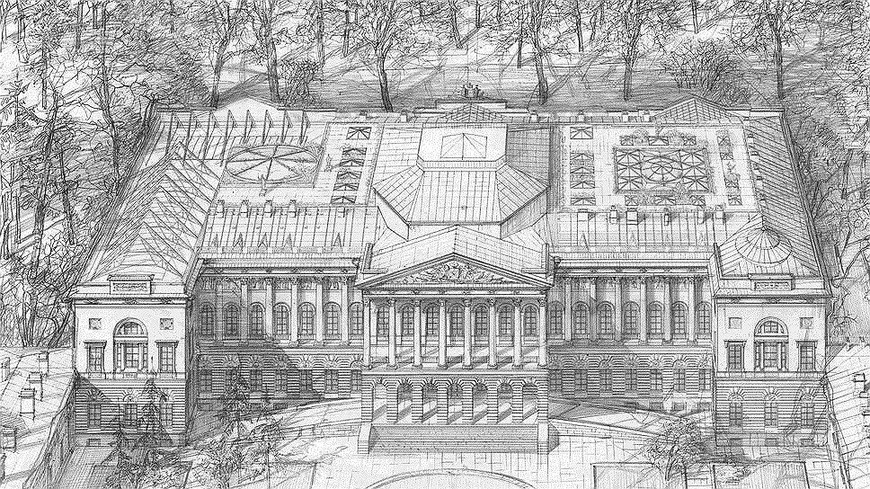 На проекте реконструкции Михайловский дворец Русского музея выглядит вместительнее за счет обустроенных внутренних двориков и обжитого чердака