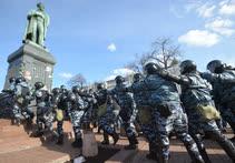 Март. Москва. Сотрудники ОМОНа во время несанкционированной акции против коррупции на Пушкинской площади