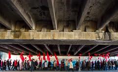 Ноябрь. Калининград. Участники митинга, посвященного 100-летию Октябрьской революции