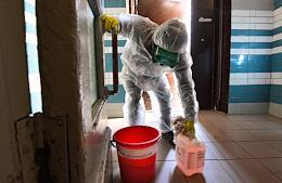 Preventive measures and precautions against coronavirus COVID-19. Disinfection of streets, playgrounds, entrance halls.